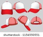 set trucker net baseball cap ... | Shutterstock .eps vector #1156550551