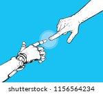 hands of robot and human... | Shutterstock .eps vector #1156564234