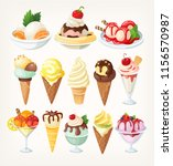 Set Of Colorful Ice Creams In...