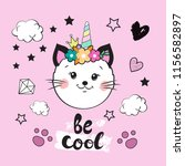 funny cat unicorn head on a... | Shutterstock .eps vector #1156582897