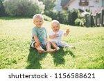 happy children play on nature... | Shutterstock . vector #1156588621
