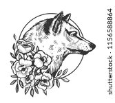 wolf head animal engraving... | Shutterstock .eps vector #1156588864
