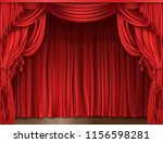 closed red stage curtain... | Shutterstock . vector #1156598281