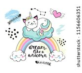 cute funny cat unicorn on a... | Shutterstock .eps vector #1156606351