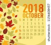 october autumn  fall calendar... | Shutterstock .eps vector #1156608457