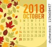 october autumn  fall calendar... | Shutterstock .eps vector #1156608457