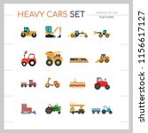 heavy cars icon set. trailer... | Shutterstock .eps vector #1156617127
