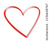 free hand drawn of red heart on ... | Shutterstock .eps vector #1156628767