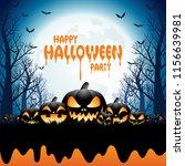 halloween pumpkins and trees... | Shutterstock .eps vector #1156639981
