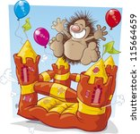 ,animal cartoon,balloons,bouncing castle,bouncy castle,bursts,cartoon character,colorful,deflating,happy face,hedgehogs,illustration vector,jumping,vector art