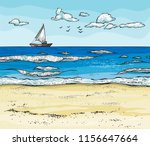 seascape with sailboat on... | Shutterstock .eps vector #1156647664