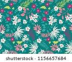 tropical flowers pattern vector ... | Shutterstock .eps vector #1156657684