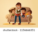 grandfather sitting with... | Shutterstock .eps vector #1156666351