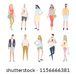 group of people standing in a... | Shutterstock .eps vector #1156666381