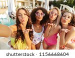 four lovely young women in... | Shutterstock . vector #1156668604