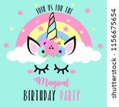 birthday invitation with cute... | Shutterstock .eps vector #1156675654