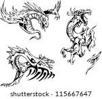dragon tattoo designs. set of... | Shutterstock .eps vector #115667647