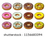 set donut with different icing  ... | Shutterstock .eps vector #1156683394