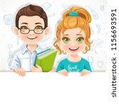 cute little blond girl in green ... | Shutterstock .eps vector #1156693591