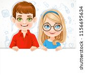cute blond girl in glasses and... | Shutterstock .eps vector #1156695634