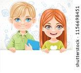 cute brunette girl and blond... | Shutterstock .eps vector #1156698451