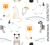 Cute Jungle Animals Seamless...