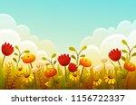 cute cartoon flowers in grass... | Shutterstock .eps vector #1156722337