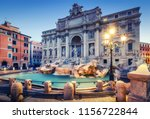 Trevi Fountain In Rome  Italy...