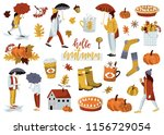 autumn sticker collection. set... | Shutterstock .eps vector #1156729054