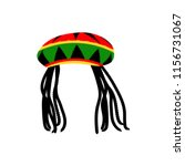 jamaican rasta hat with... | Shutterstock .eps vector #1156731067
