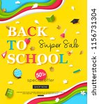 vector back to school sale... | Shutterstock .eps vector #1156731304