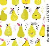 pear fruit seamless pattern.... | Shutterstock .eps vector #1156737997