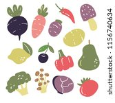 vegetables vector collection... | Shutterstock .eps vector #1156740634