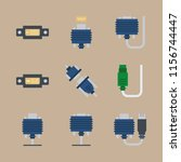 cables icons set. optic ... | Shutterstock .eps vector #1156744447