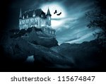 halloween castle with moon, night