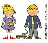 happy kids  girl  boy and toys  ...   Shutterstock .eps vector #1156750237