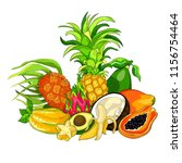 exotic fruits pandan banana... | Shutterstock .eps vector #1156754464