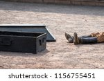 coffin next to a dead man with... | Shutterstock . vector #1156755451