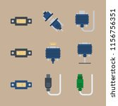cables vector icons set. cable... | Shutterstock .eps vector #1156756351