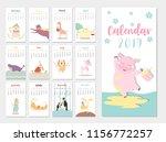 cute animal calendar 2019... | Shutterstock .eps vector #1156772257