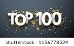 top 100 sign with gold stars....   Shutterstock .eps vector #1156778524