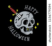 skull with dagger old tattoo... | Shutterstock .eps vector #1156779394