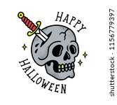 skull with dagger old tattoo... | Shutterstock .eps vector #1156779397