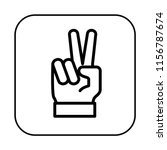 victory sign. two fingers icon. ...