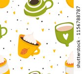 hand drawn autumn seamless... | Shutterstock .eps vector #1156788787