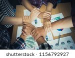 four hand together in business... | Shutterstock . vector #1156792927
