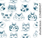 seamless pattern with cute cats ... | Shutterstock .eps vector #1156800457