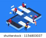 isometric mobile phone... | Shutterstock .eps vector #1156803037