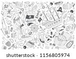 hand drawn pirates set doodle... | Shutterstock .eps vector #1156805974
