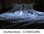 empty bed and unmade at the... | Shutterstock . vector #1156811881